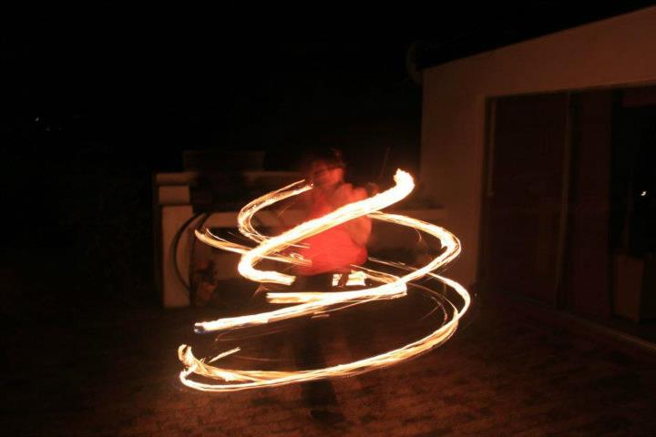 Natacha on fire hoop
