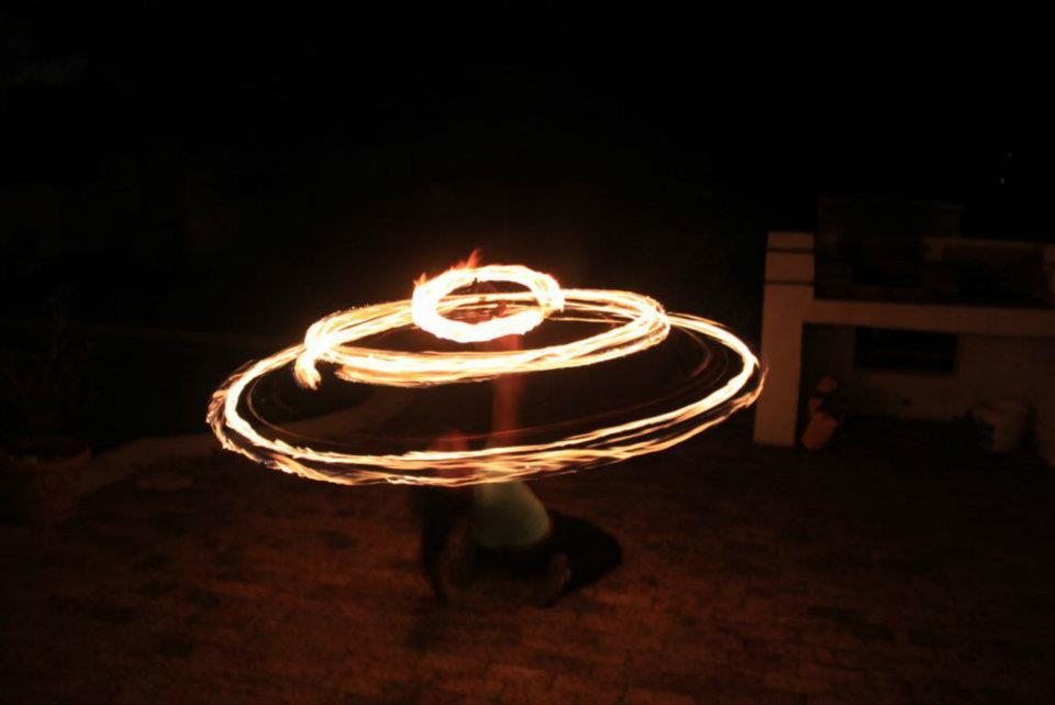 Mbali on fire hoop
