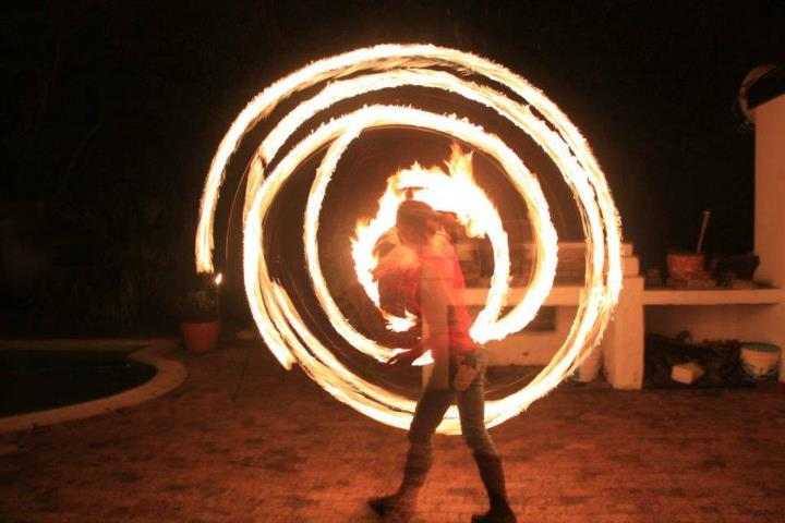 Corette on fire hoop