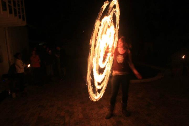 Emma on fire hoop