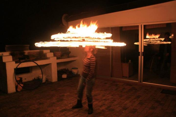 Sandy on fire hoop